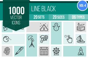 1000 Line Icons Bundle - Overview - IconBunny