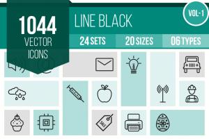 1044 Line Icons Bundle - Overview - IconBunny