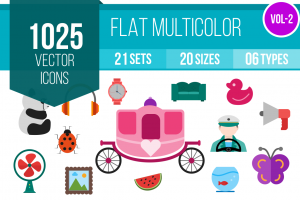 1025 Flat Multicolor Icons Bundle - Overview - IconBunny