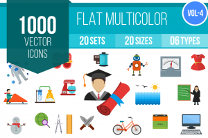 1000 Flat Multicolor Icons Bundle - Overview - IconBunny