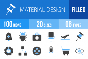 100 Material Design Blue Black Icons - Overview - IconBunny