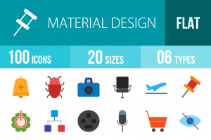 100 Material Design Flat Multicolor Icons - Overview - IconBunny