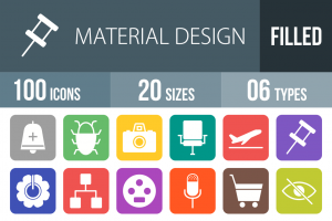 100 Material Design Flat Round Corner Icons - Overview - IconBunny