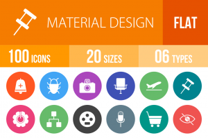 100 Material Design Flat Round Icons - Overview - IconBunny