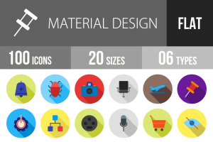 100 Material Design Flat Shadowed Icons - Overview - IconBunny