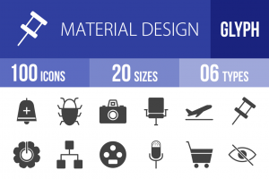 100 Material Design Glyph Icons - Overview - IconBunny