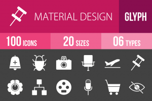100 Material Design Glyph Inverted Icons - Overview - IconBunny