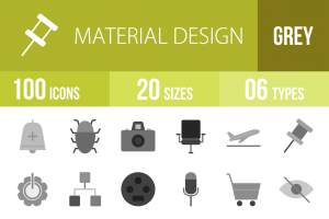 100 Material Design Greyscale Icons - Overview - IconBunny