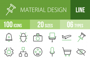 100 Material Design Line Green Black Icons - Overview - IconBunny