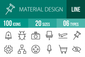 100 Material Design Line Icons - Overview - IconBunny
