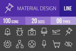 100 Material Design Line Inverted Icons - Overview - IconBunny