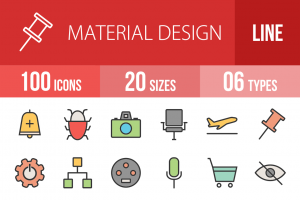 100 Material Design Line Multicolor Filled Icons - Overview - IconBunny