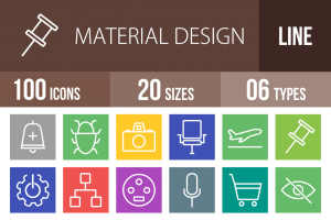 100 Material Design Line Multicolor B/G Icons - Overview - IconBunny