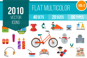 2010 Flat Multicolor Icons Bundle - Overview - IconBunny