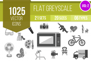 1025 Greyscale Icons Bundle - Overview - IconBunny