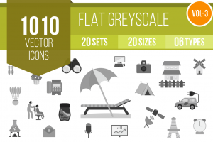 1010 Greyscale Icons Bundle - Overview - IconBunny