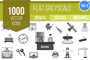 1000 Greyscale Icons Bundle - Overview - IconBunny