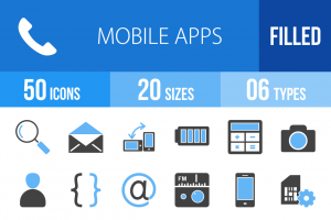 110 Mobile Apps Blue & Black Icons - Overview - IconBunny