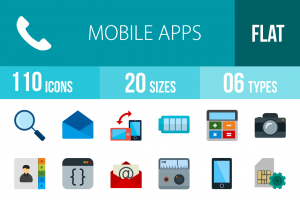 110 Mobile Apps Flat Multicolor Icons - Overview - IconBunny