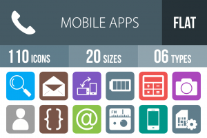 110 Mobile Apps Flat Round Corner Icons - Overview - IconBunny
