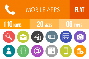 110 Mobile Apps Flat Round Icons - Overview - IconBunny