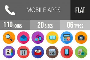 110 Mobile Apps Flat Shadowed Icons - Overview - IconBunny