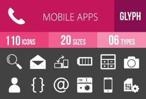 110 Mobile Apps Glyph Inverted Icons - Overview - IconBunny