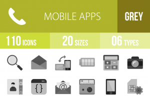 110 Mobile Apps Greyscale Icons - Overview - IconBunny