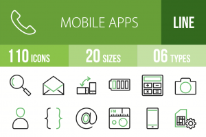 110 Mobile Apps Line Green & Black Icons - Overview - IconBunny