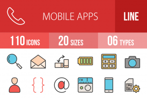 110 Mobile Apps Line Multicolor Filled Icons - Overview - IconBunny
