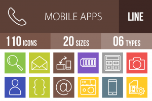 110 Mobile Apps Line Multicolor B/G Icons - Overview - IconBunny