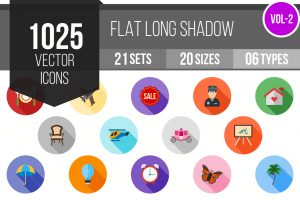 1025 Flat Shadowed Icons Bundle - Overview - IconBunny