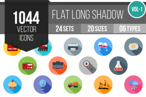 1044 Flat Shadowed Icons Bundle - Overview - IconBunny
