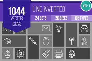 1044 Line Inverted Icons Bundle - Overview - IconBunny