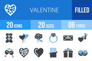 20 Valentine Blue & Black Icons - Overview - IconBunny