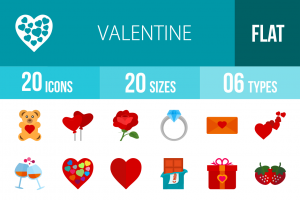 20 Valentine Flat Multicolor Icons - Overview - IconBunny
