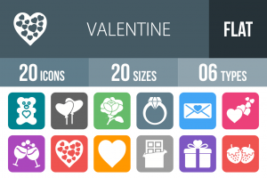 20 Valentine Flat Round Corner Icons - Overview - IconBunny