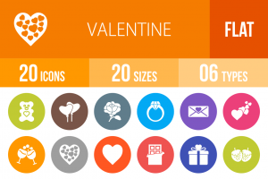 20 Valentine Flat Round Icons - Overview - IconBunny
