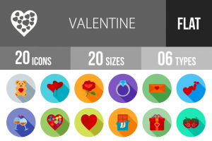 20 Valentine Flat Shadowed Icons - Overview - IconBunny