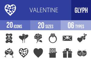 20 Valentine Glyph Icons - Overview - IconBunny