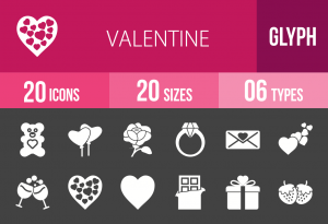 20 Valentine Glyph Inverted Icons - Overview - IconBunny