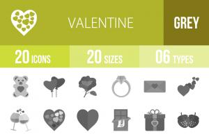 20 Valentine Greyscale Icons - Overview - IconBunny