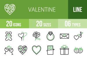 20 Valentine Line Green & Black Icons - Overview - IconBunny