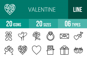 20 Valentine Line Icons - Overview - IconBunny