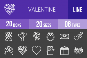 20 Valentine Line Inverted Icons - Overview - IconBunny