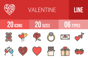20 Valentine Line Multicolor Filled Icons - Overview - IconBunny