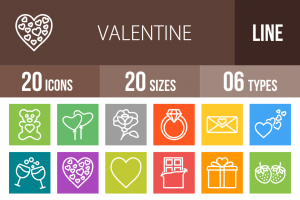 20 Valentine Line Multicolor B/G Icons - Overview - IconBunny