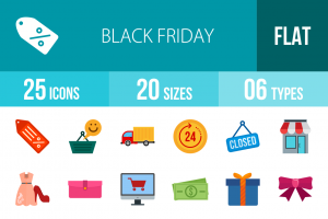 25 Black Friday Flat Multicolor Icons - Overview - IconBunny