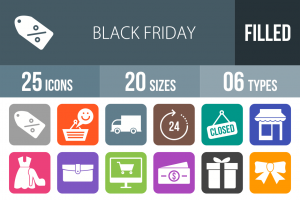 25 Black Friday Flat Round Corner Icons - Overview - IconBunny