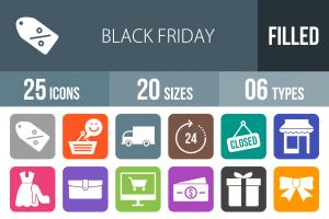 25 Black Friday Flat Round Corner Icons - Overview - IconBunny
